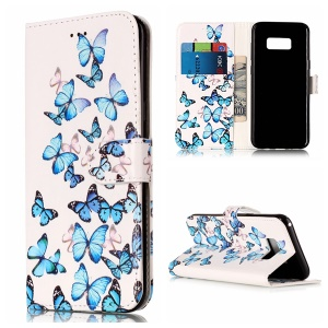 For Samsung Galaxy S8 Plus G955 Patterned Leather Wallet Stand Cover Accessory - Blue Butterflies
