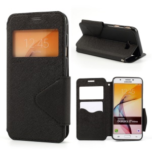 ROAR KOREA Magnetic View Window Leather Protective Case for Samsung Galaxy J7 Prime/On7 2016 - Black