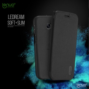 LENUO Ledream Series Flip Leather Case for Samsung Galaxy A7 (2017) SM-A720F - Black