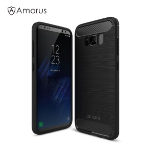 AMORUS Carbon Fibre Brushed TPU Case for Samsung Galaxy S8+ SM-G955 - Black