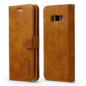 LC.IMEEKE Leather Flip Stand Phone Case for Samsung Galaxy S8 G950 - Brown