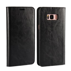 Crazy Horse Stand Wallet Genuine Leather Case for Samsung Galaxy S8 Plus G955 - Black