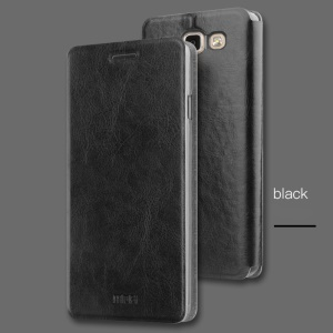 MOFI Rui Series for Samsung Galaxy A7 (2017) Built-in Steel Sheet Leather Folio Case with Stand - Black