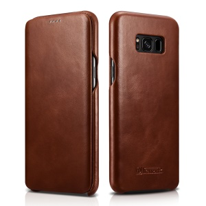 ICARER Curved Edge Vintage Genuine Leather Flip Shell for Samsung Galaxy S8 G950 - Brown