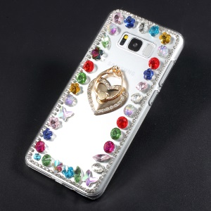 Crystal Acrylic Rhinestone décoré Ring Stand Case pour Samsung S8 Plus G955 - Ring