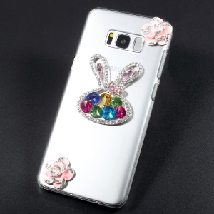 Crystal Acrylic Rhinestone Decorated Mobile Casing para Samsung S8 Plus G955 - Coelho brilhante