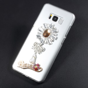 Rhinestone Decorated Crystal Acrylic Phone Shell for Samsung S8 Plus G955 - Bow tie with Pendant