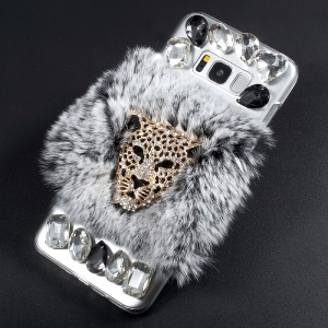 For Samsung Galaxy S8 G950 Crystal Acrylic Rhinestone Decorated Ring Stand Phone Shell Case - Lion