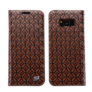 FIERRE SHANN Auto-absorbed Genuine Leather Mobile Phone Cover for Samsung Galaxy S8 G950 - Coffee