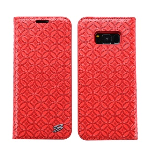 FIERRE SHANN for Samsung Galaxy S8+ G955 Chinese Coin Texture Genuine Leather Case with Card Slot - Red