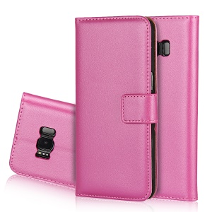 For Samsung Galaxy S8+ G955 Split Leather Card Holder Cell Phone Case - Rose