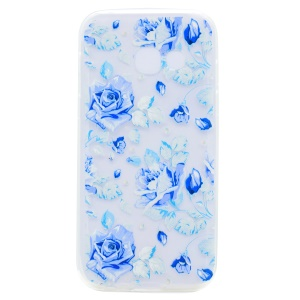 Pattern Printing TPU Case for Samsung Galaxy J7 Prime/On7 2016 - Blue Flowers