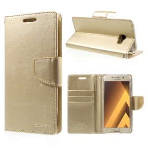 MERCURY GOOSPERY Bravo Diary Magnetic Leather Wallet Wallet Casing for Samsung Galaxy A7 (2017) SM-A720F - Gold