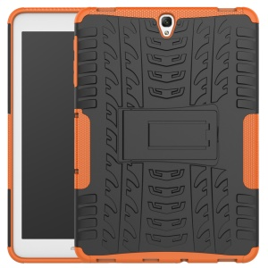 2-in-1 Tyre Pattern Kickstand PC + TPU Combo Case for Samsung Galaxy Tab S3 9.7-inch T820 - Orange