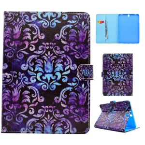 Pattern Printing Leather Wallet Protective Case for Samsung Galaxy Tab S3 9.7-inch T820 - Damask Flowers