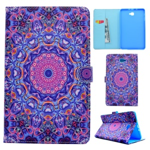 Wallet Leather Patterned Stand Case for Samsung Tab A 10.1 (2016) T580 T585 - Purple and Blue Bohemia Pattern