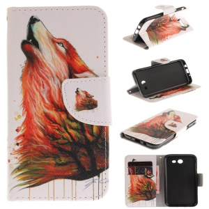 Patterned Wallet Leather Stand Case for Samsung Galaxy J3 Emerge/J3 Prime/J3 (2017) - Wolf Pattern