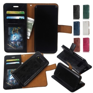 For Samsung Galaxy S8 G950 Detachable 2-in-1 Crazy Horse Leather Wallet Cover with  Inner TPU Case - Black