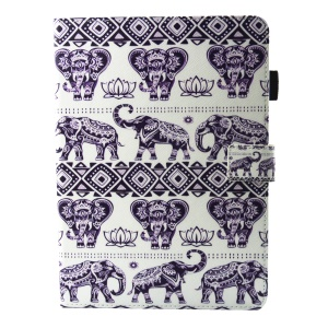 Supporto per custodia per carta da parati in PU per la scheda Galaxy S3 T820 da 9,7 pollici - Tribal Elephants
