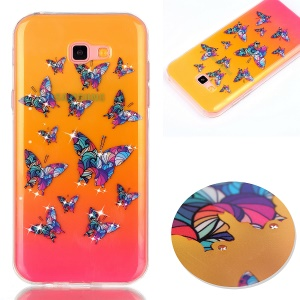 Patterned Inner Rhinestone TPU Case for Samsung Galaxy A7 (2017) SM-A720F - Colorful Butterflies