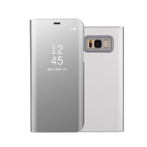 Electroplating Mirror Surface View Window Leather Smart Case for Samsung Galaxy S8 G950 - Silver