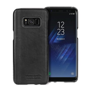 PIERRE CARDIN Stitched Genuine Leather Coated Hard PC Case for Samsung Galaxy S8+ SM-G955 - Black