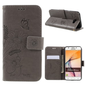 Imprinted Butterfly Flower PU Leather Wallet Case for Samsung Galaxy J5 Prime/On5 2016 - Grey