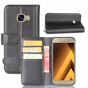 Genuine Split Leather Wallet Accessory Cover with Stand for Samsung Galaxy A5 (2017) SM-A520F - Black