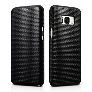 ICARER Woven Pattern Cowhide Leather Phone Case for Samsung Galaxy S8 G950 - Black