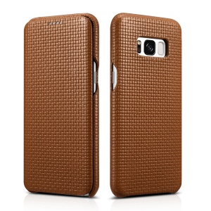 ICARER Woven Pattern Cowhide Leather Protection Mobile Shell for Samsung Galaxy S8 G950 - Brown