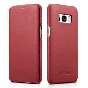 ICARER Curved Edge Luxury Series Genuine Leather Flip Case for Samsung Galaxy S8 SM-G950 - Red