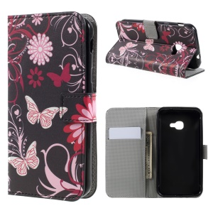 Pattern Printing Wallet Leather Foldable Casing Accessory for Samsung Galaxy Xcover 4s / Xcover 4 - Floral Butterfly
