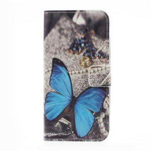 Printing Pattern Wallet Leather Cell Phone Casing with Stand for Samsung Galaxy Xcover 4s / Xcover 4 - Blue Butterfly
