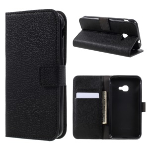 Litchi Texture Leather Wallet Stand Phone Case for Samsung Galaxy Xcover 4 - Black