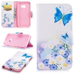 Patterned Printing Wallet Leather Stand Mobile Shell for Samsung Galaxy Xcover 4 SM-G390F - Blue Butterfly