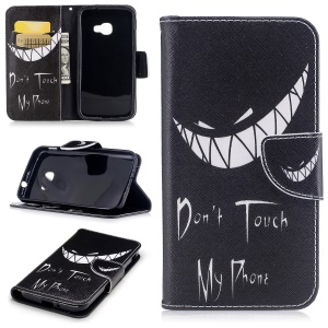 Pattern Printing Wallet Leather Stand Cell Phone Cover for Samsung Galaxy Xcover 4s / Xcover 4 SM-G390F - Do not Touch My Phone