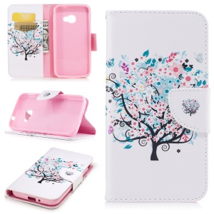 Printing Pattern Wallet Leather Stand Mobile Cover for Samsung Galaxy Xcover 4 SM-G390F - Flowered Tree