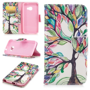 Pattern Printing Wallet Leather Stand Mobile Case for Samsung Galaxy Xcover 4 SM-G390F - Colorized Tree