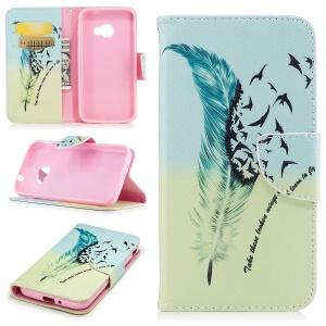 Pattern Printing Wallet Leather Phone Shell with Stand for Samsung Galaxy Xcover 4 SM-G390F - Feather Pattern