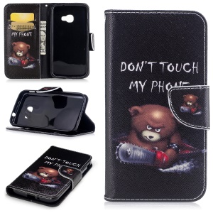 Printing Pattern Wallet Leather Cell Phone Casing with Stand for Samsung Galaxy Xcover 4 SM-G390F - Brown Bear