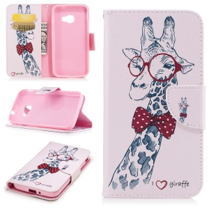 Pattern Printing Wallet Leather Stand Shell Cover for Samsung Galaxy Xcover 4 SM-G390F - Adorable Giraffe Wearing Glasses