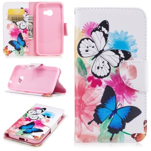 Pattern Printing Wallet Leather Foldable Mobile Casing for Samsung Galaxy Xcover 4 SM-G390F - Butterfly and Flowers