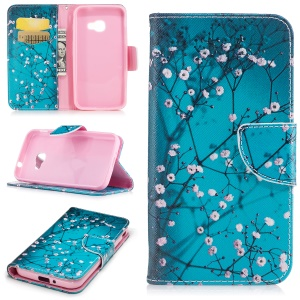 Pattern Printing Wallet Leather Stand Magnetic Cover for Samsung Galaxy Xcover 4s / Xcover 4 SM-G390F - Tree with Flowers