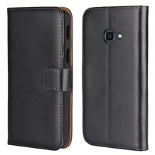 Genuine Split Leather Wallet Stand Mobile Phone Case for Samsung Galaxy Xcover 4 - Black