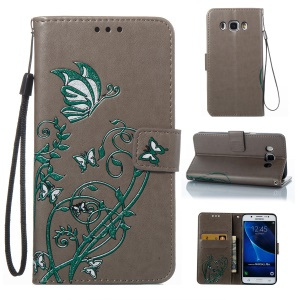 Imprint Colored Butterfly and Flower Leather Mobile Casing for Samsung Galaxy J5 (2016) J510 - Grey