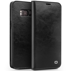 QIALINO Classic Genuine Cowhide Leather Phone Case for Samsung Galaxy S8 G950 - Black