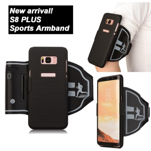 Sports Armband + PC Stripe Hard Cell Phone Case 2-In-1 with Slot for Samsung Galaxy S8 Plus G955