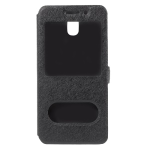 Silk Texture Dual Window Leather Phone Accessory Casing for Samsung Galaxy J3 (2017) EU Version - Black