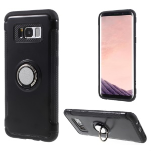 Magnetic Ring Holder TPU PC Back Case for Samsung Galaxy S8 Plus SM-G955 - Black