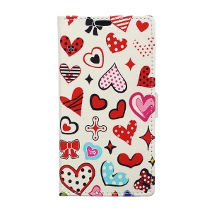 Pattern Printing PU Leather Flip Cell Phone Protection Case Shell for Samsung Galaxy J3 (2017) EU Version - Colorful Hearts
